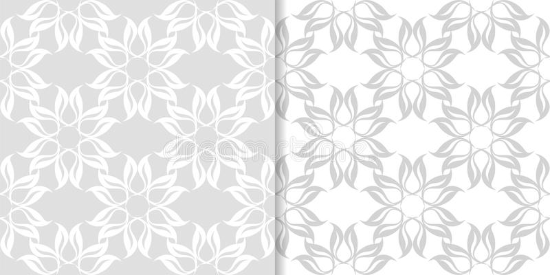 Light gray floral ornamental designs. Set of seamless patterns vector illustration