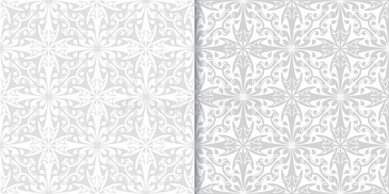 Light gray floral ornaments. Set of seamless patterns stock illustration