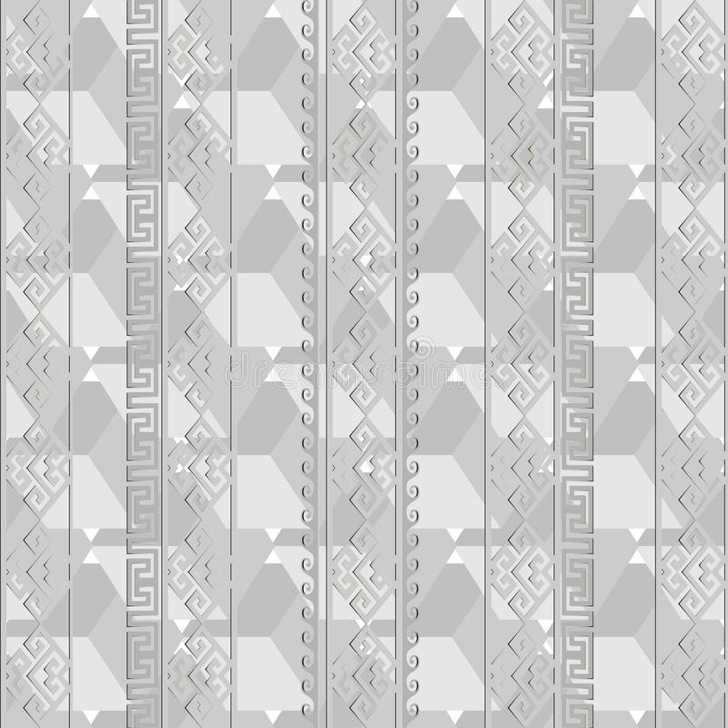 Light gray geometric greek vector seamless pattern. Monochrome a royalty free illustration