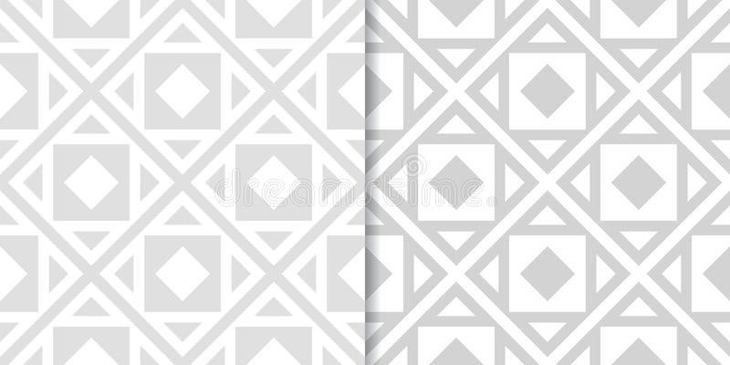 Light gray geometric ornaments. Set of seamless patterns royalty free illustration