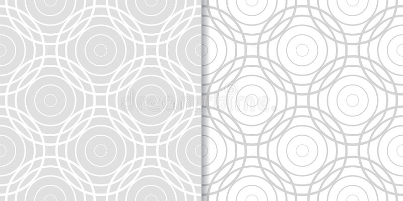 Light gray geometric ornaments. Set of seamless patterns stock illustration