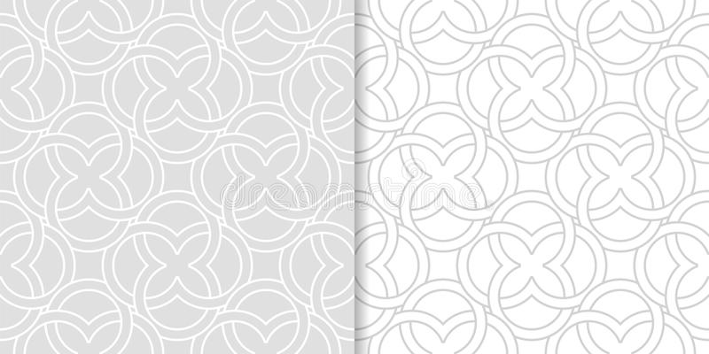 Light gray geometric ornaments. Set of seamless patterns vector illustration