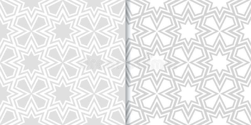 Light gray geometric prints. Set of seamless patterns stock illustration