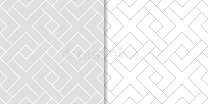 Light gray geometric prints. Set of seamless patterns royalty free illustration