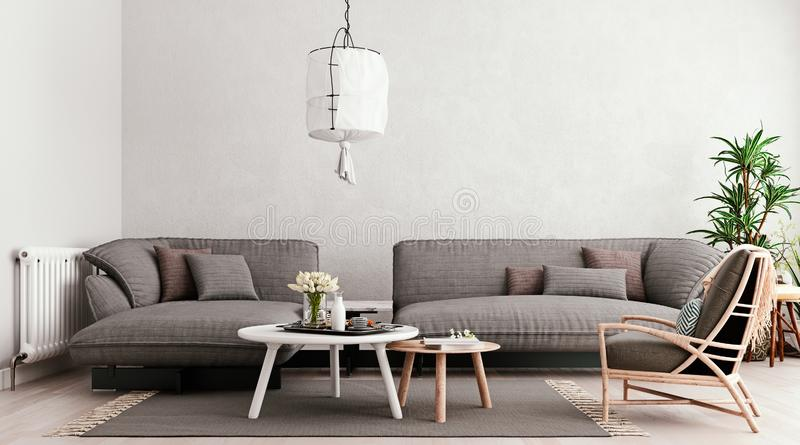 Light gray mock up wall, large gray modular sofa with table set and chair, living room, Scandinavian style stock illustration