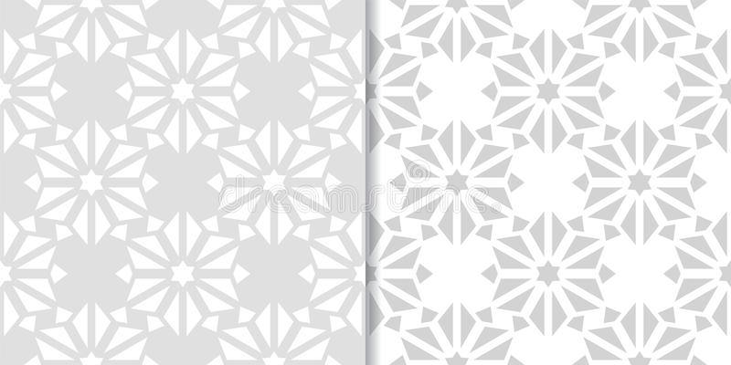 Light gray set of floral seamless patterns stock illustration