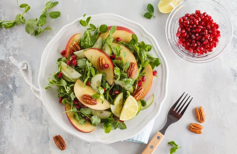 Light green apple pecan pomegranate salad. Vegan Healthy Food Co stock photography