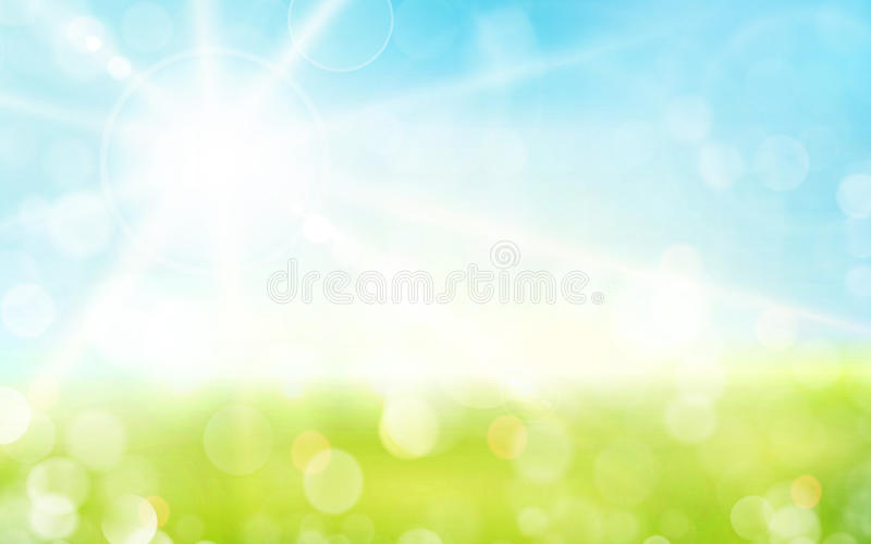 light green blue spring background with sun shine and