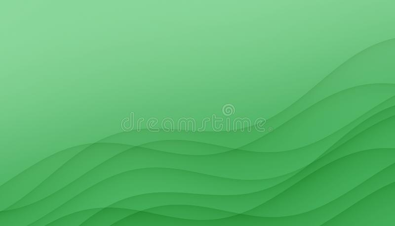Light green curves abstract background illustration with copy space. stock illustration
