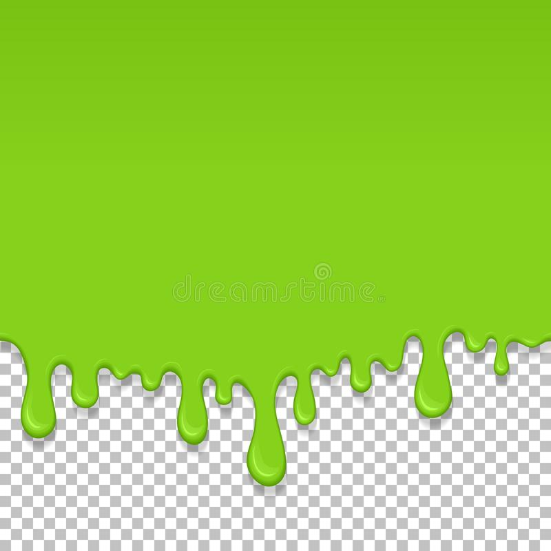 Light green dripping slime seamless element. Light green dripping slime seamless pattern. Zombie slime background. Kids sensory toy vector illustration stock illustration