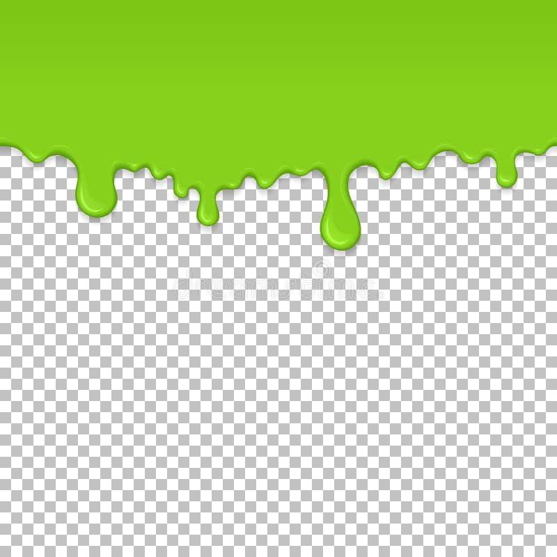 Light green dripping slime seamless element. Light green dripping slime seamless pattern. Zombie slime background. Kids sensory toy vector illustration royalty free illustration