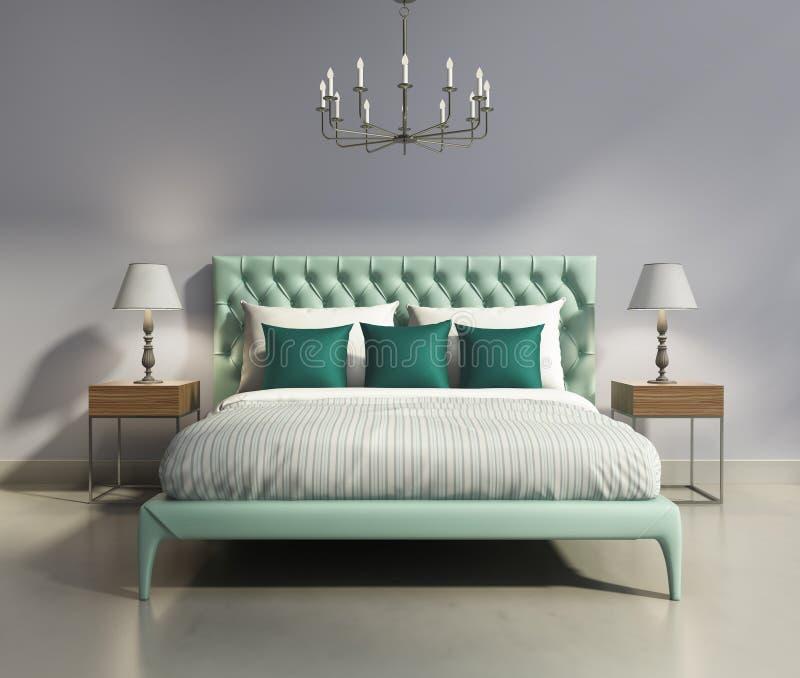 Light green elegant modern bedrooom interior stock illustration