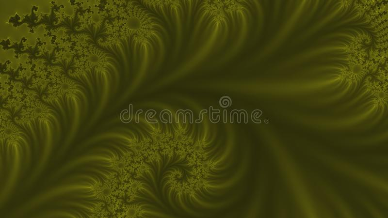 Gentle touch widescreen. Light green and gentle fractal background of swirling flower type pattern in widescreen stock illustration