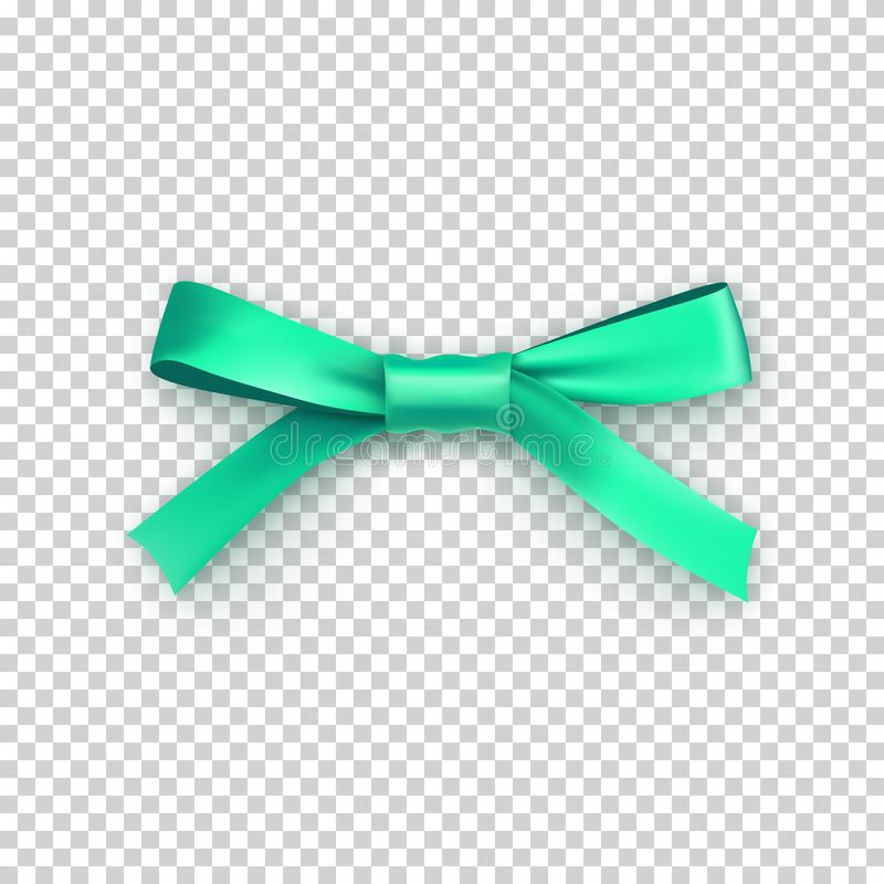 Light green gift bow from satin thin tape stock illustration
