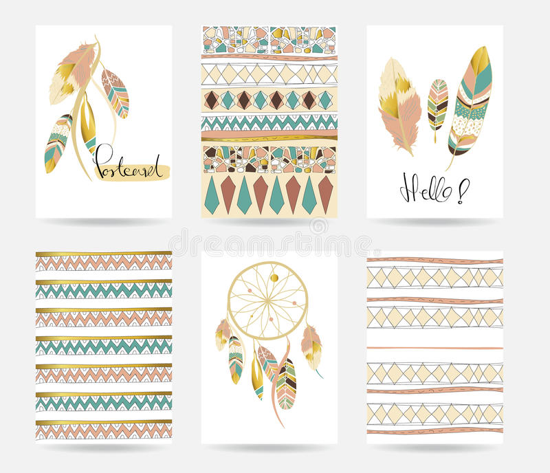 Light green gold pink card template in boho style vector illustration