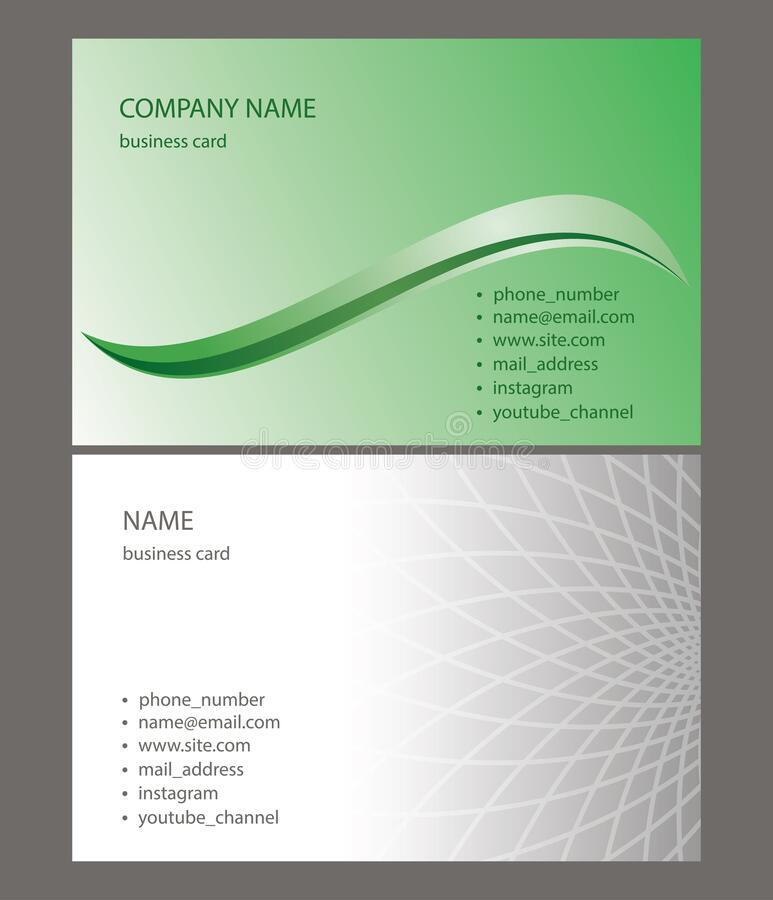 Light green and gray business cards with abstractions - vector illustration. Light green and gray business cards with abstractions -  vector illustration stock illustration