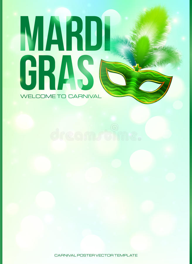 Light green Mardi Gras poster template with bokeh royalty free illustration