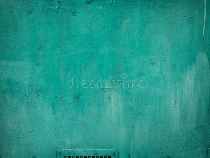 Light Green Painted Wood Background with metal details stock image