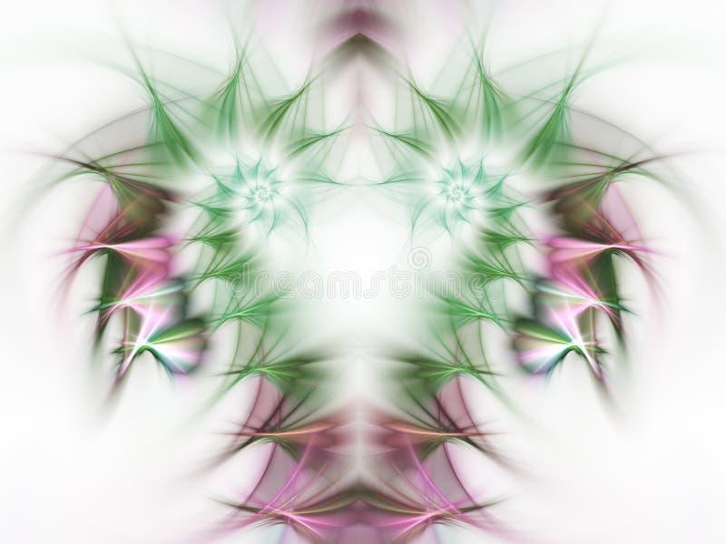 Light green and pink fractal swirls. Digital artwork for creative graphic design stock illustration