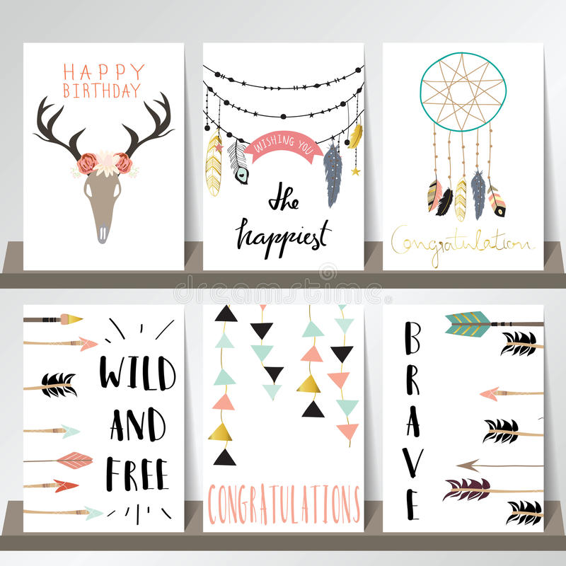Light green pink gold card template with arrow,feather,geometric and wild in boho style royalty free illustration