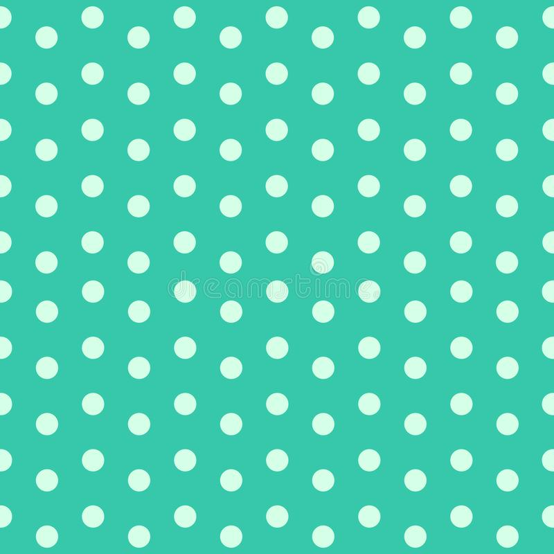 Light green polka dots on Turquoise background vector. For retro or fun and modern vibe stock illustration