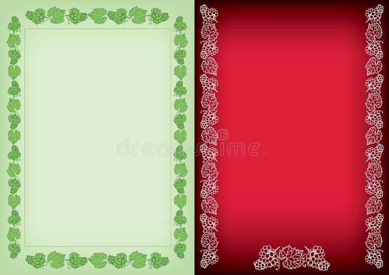 Light green and red backgrounds with frames - decorative vector grapes bunches stock illustration