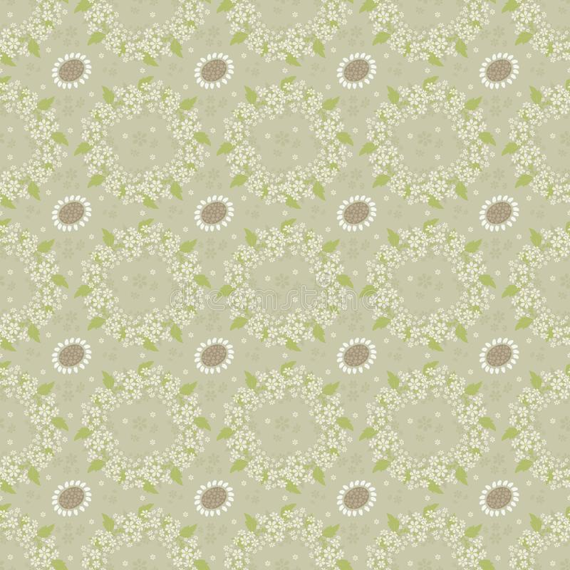 Seamless background with a repeating pattern of floral wreaths royalty free illustration