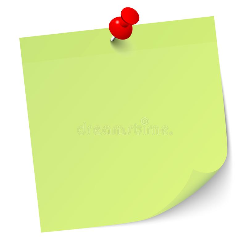 Light Green Sticky Note With Red Pin vector illustration