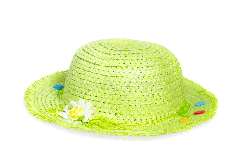 Light green straw Panama hat isolated on white background stock photos