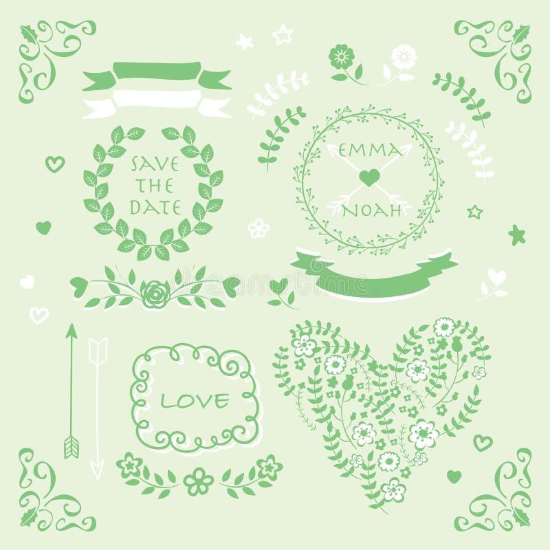Light green vector wedding invitation design element set stock download light green vector wedding invitation design element set stock illustration illustration of decoration stopboris Images