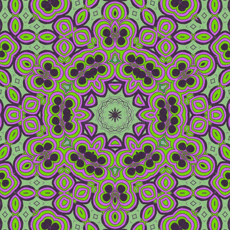 Light green and violet  colors.. Abstract draw. Draw with effects and abstract forms. Green and violet colors um a circle stock illustration