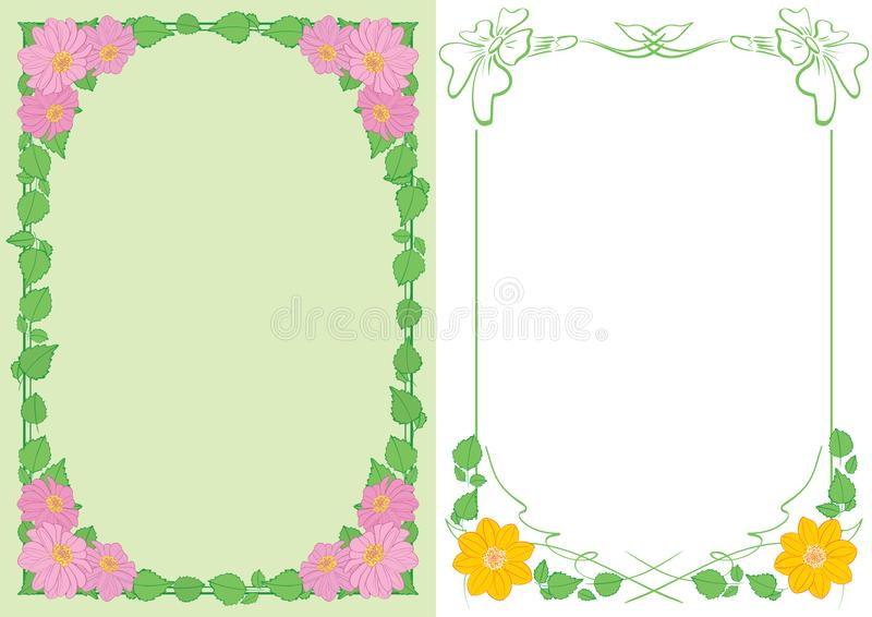 Light green and white backgrounds A4 with flowers in corners - vector vertical frames. Light green and white backgrounds A4 with flowers in corners - vector royalty free illustration