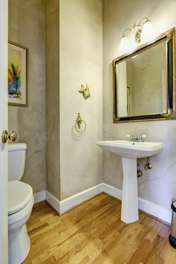 Light grey bathroom with white washbasin stand stock photography