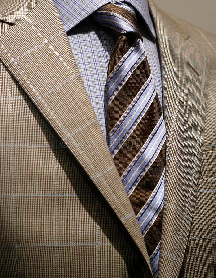 Download Light Grey Checkered Jacket, Blue Shirt And Tie Stock Photo - Image: 12625980