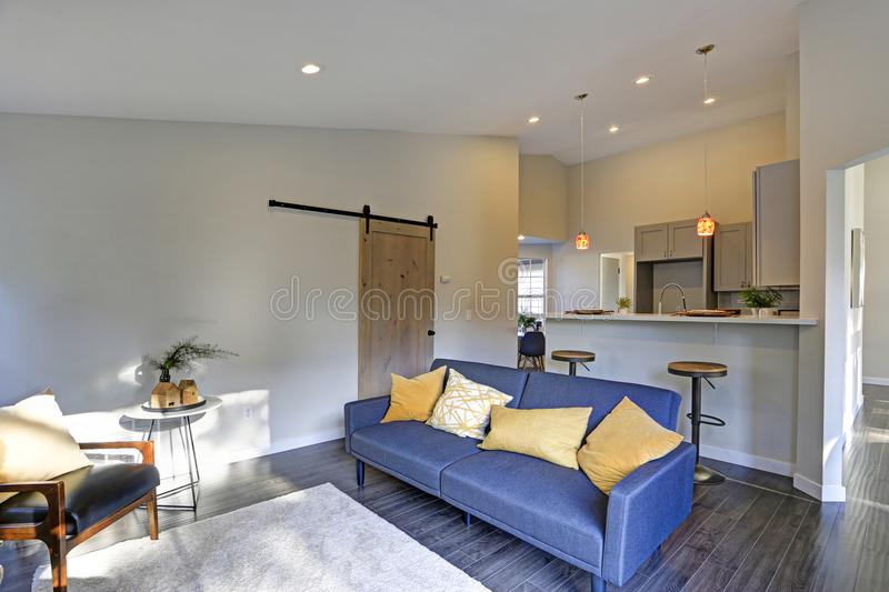 Light grey kitchen room interior and blue sofa stock image