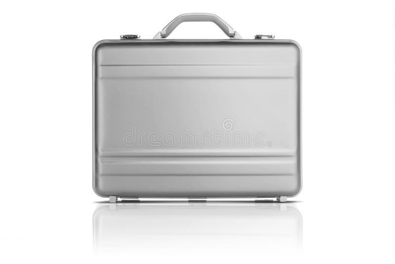 Light grey metal suitcase isolated on white background royalty free stock photo