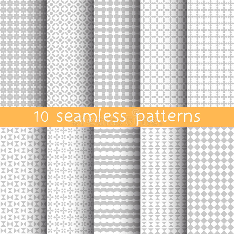10 Light grey seamless patterns for universal background. Grey and white colors. royalty free illustration