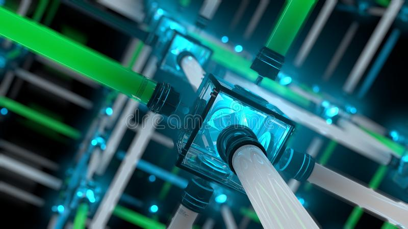 Light Grid or fluorescent tube. Computer rendered illustration of colorful Light Grid or fluorescent tube stock illustration