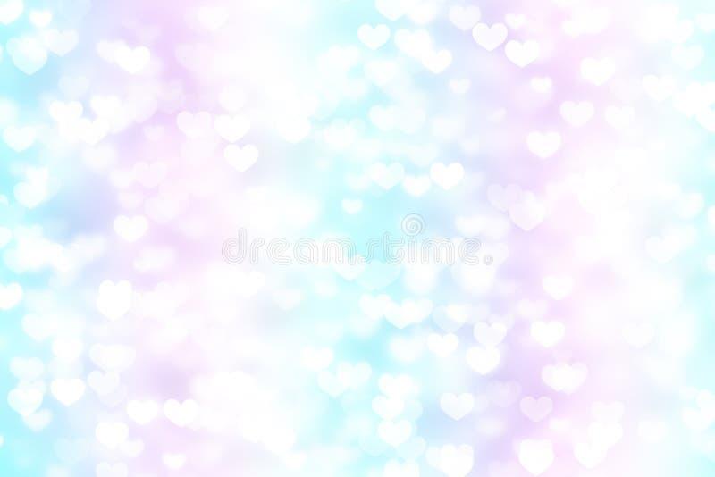 Light heart background abstract bokeh, illuminated vector illustration