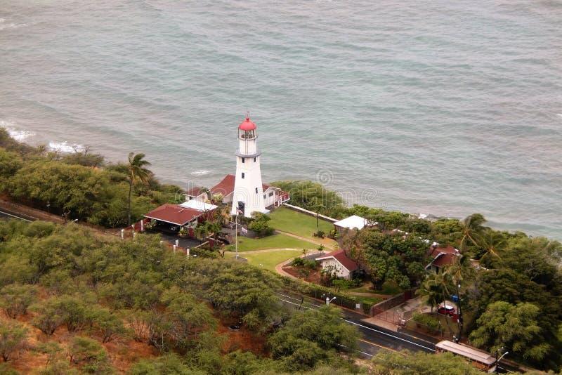 Light House at Diamond Head Honolulu Oahu Hawaii royalty free stock photos