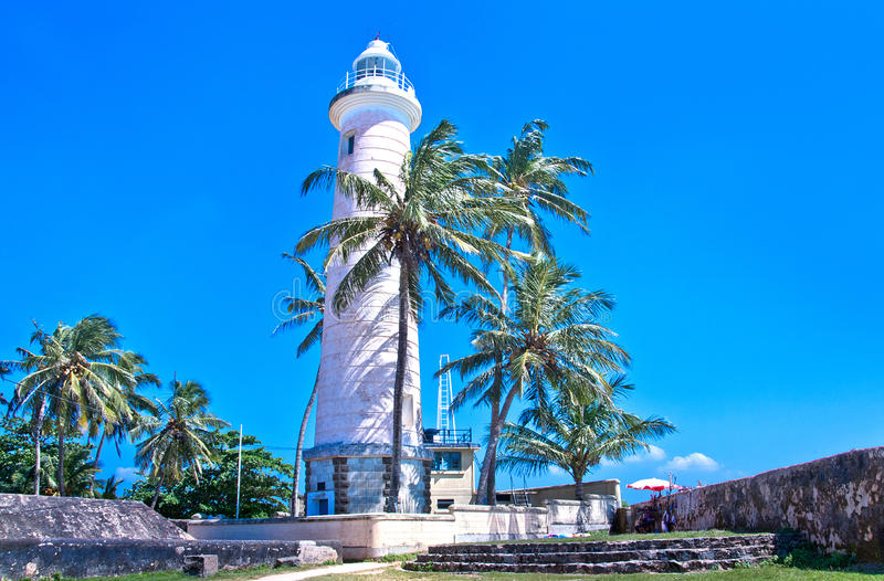 Light House At Galle Dutch Fort, Sri lanka. Galle Fort, in the Bay of Galle on the southwest coast of Sri Lanka, was built first in 1588 by the Portuguese, then stock photo
