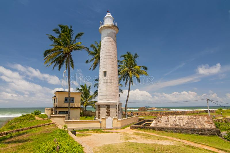 Light house at Galle Dutch Fort 17th centurys ruined dutch castle. That is unesco listed as a world heritage site in Sri Lanka royalty free stock photos