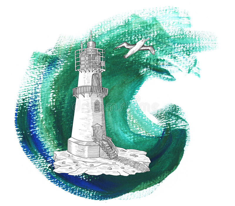 Light house with gull on green background. Old light house with gull on green wave background with brushwork effect, hand drawn illustration stock illustration