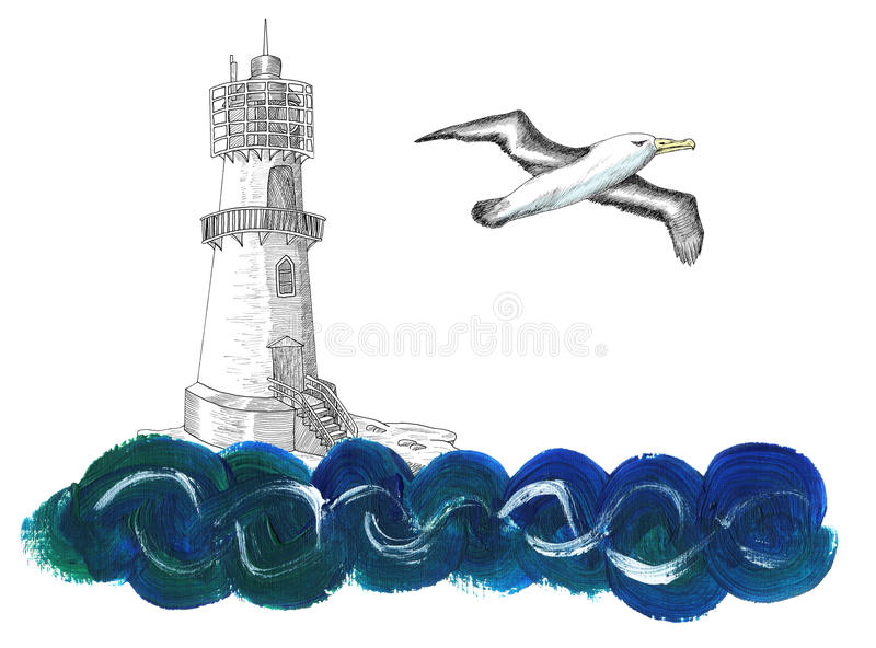 Light house with gull and wave on white vector illustration