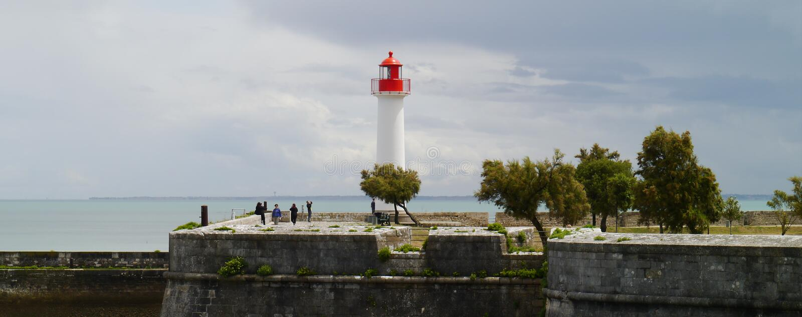 Light house in harbour in St Martin de Re, Il de Re royalty free stock images