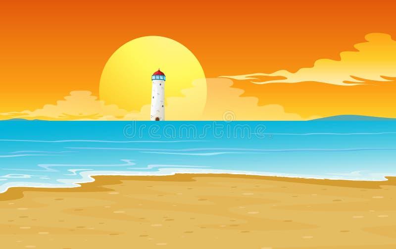 A light house and sun vector illustration