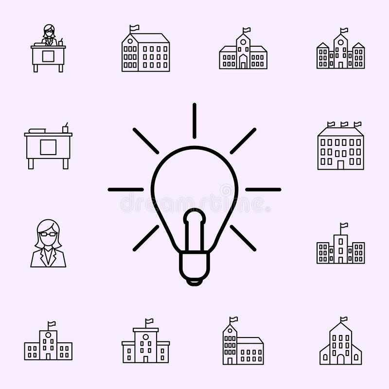 Light of ideas icon. School icons universal set for web and mobile. On color background stock illustration