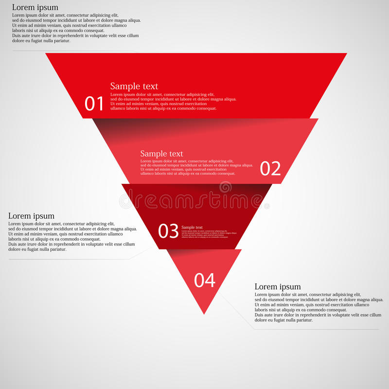 Light illustration inforgraphic with triangle divided to four parts vector illustration