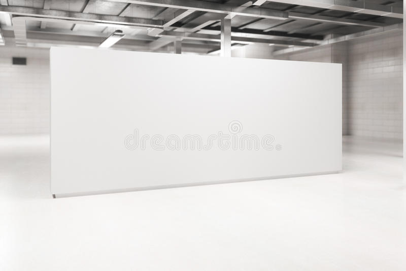 Light interior with blank poster side. Side view of modern light interior with blank poster. Mock up, 3D Rendering royalty free stock photos
