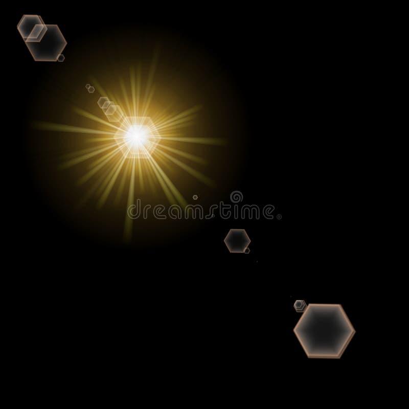 Download Light And Lens Flare On Black Stock Illustration - Image: 2560893